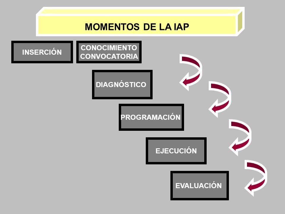 MOMENTOS DE LA IAP CONOCIMIENTO INSERCIÓN CONVOCATORIA DIAGNÓSTICO
