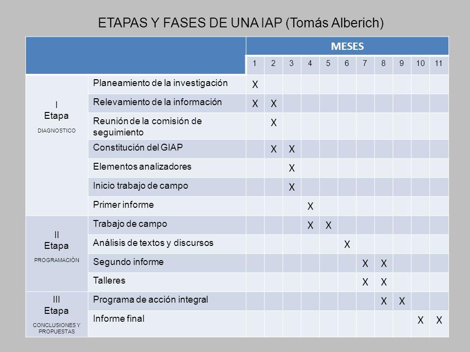 ETAPAS Y FASES DE UNA IAP (Tomás Alberich)