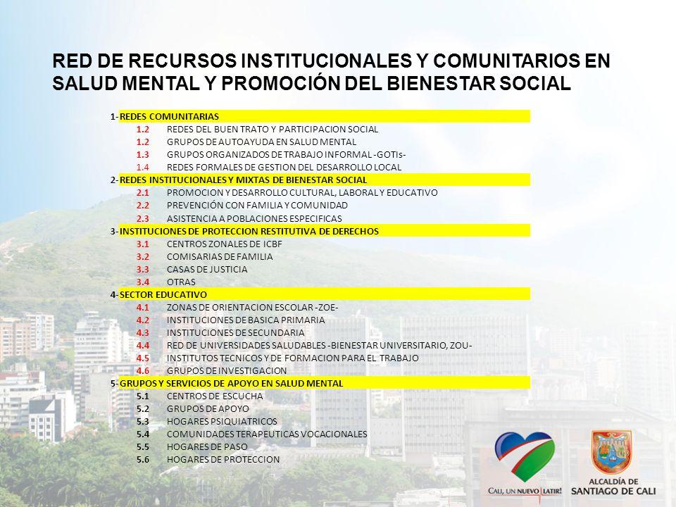 RED DE RECURSOS INSTITUCIONALES Y COMUNITARIOS EN SALUD MENTAL Y PROMOCIÓN DEL BIENESTAR SOCIAL