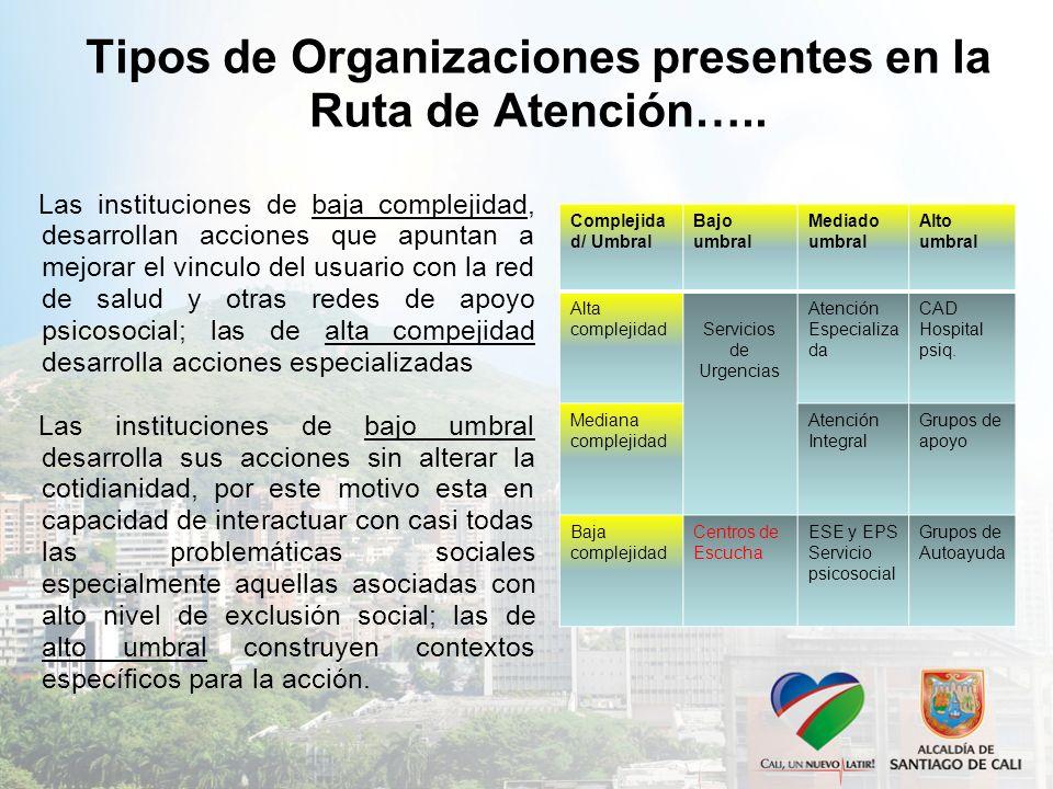 Tipos de Organizaciones presentes en la Ruta de Atención…..
