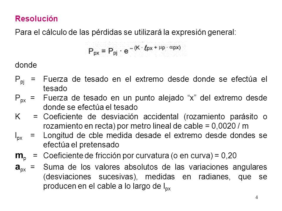mp = Coeficiente de fricción por curvatura (o en curva) = 0,20