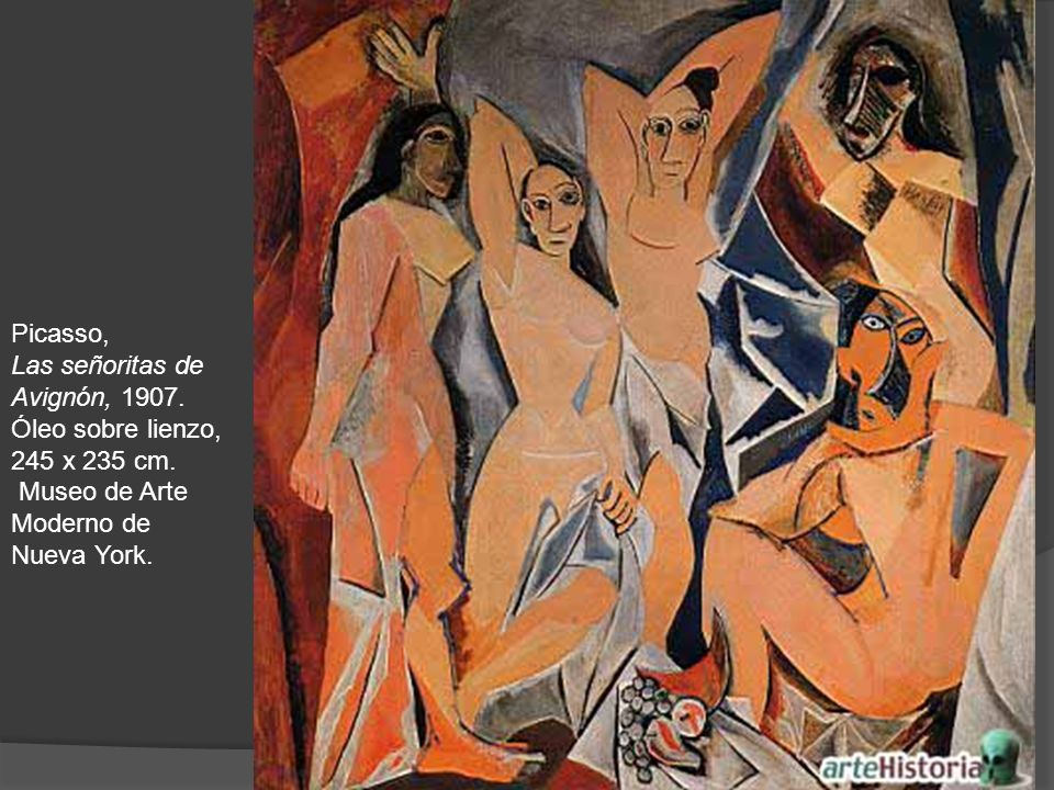 Picasso, Las señoritas de Avignón, 1907. Óleo sobre lienzo, 245 x 235 cm.