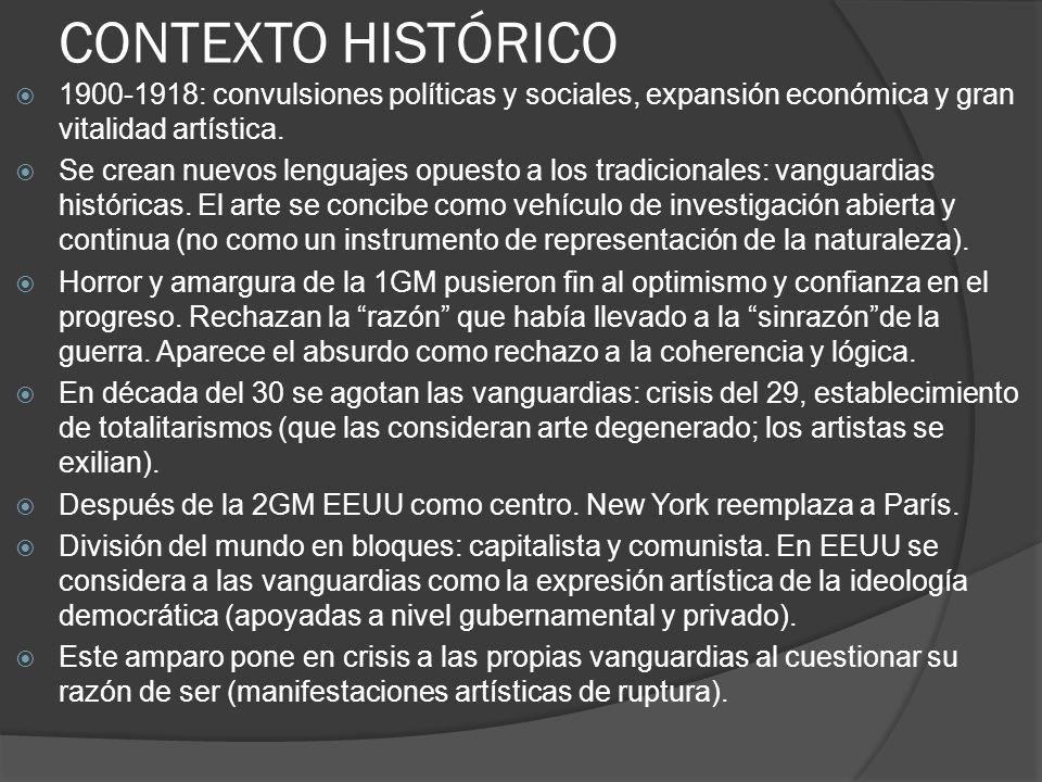 CONTEXTO HISTÓRICO 1900-1918: convulsiones políticas y sociales, expansión económica y gran vitalidad artística.