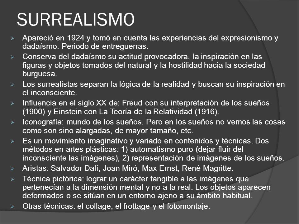 SURREALISMO Apareció en 1924 y tomó en cuenta las experiencias del expresionismo y dadaísmo. Periodo de entreguerras.