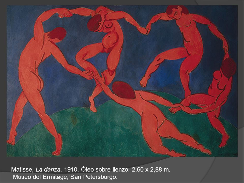 Matisse, La danza, 1910. Óleo sobre lienzo. 2,60 x 2,88 m.