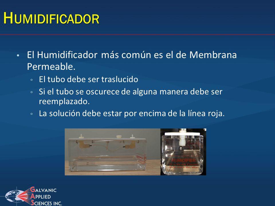 Humidificador El Humidificador más común es el de Membrana Permeable.
