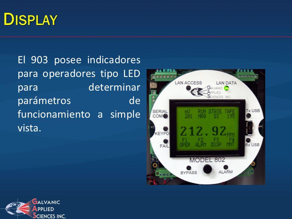 Display El 903 posee indicadores para operadores tipo LED para determinar parámetros de funcionamiento a simple vista.