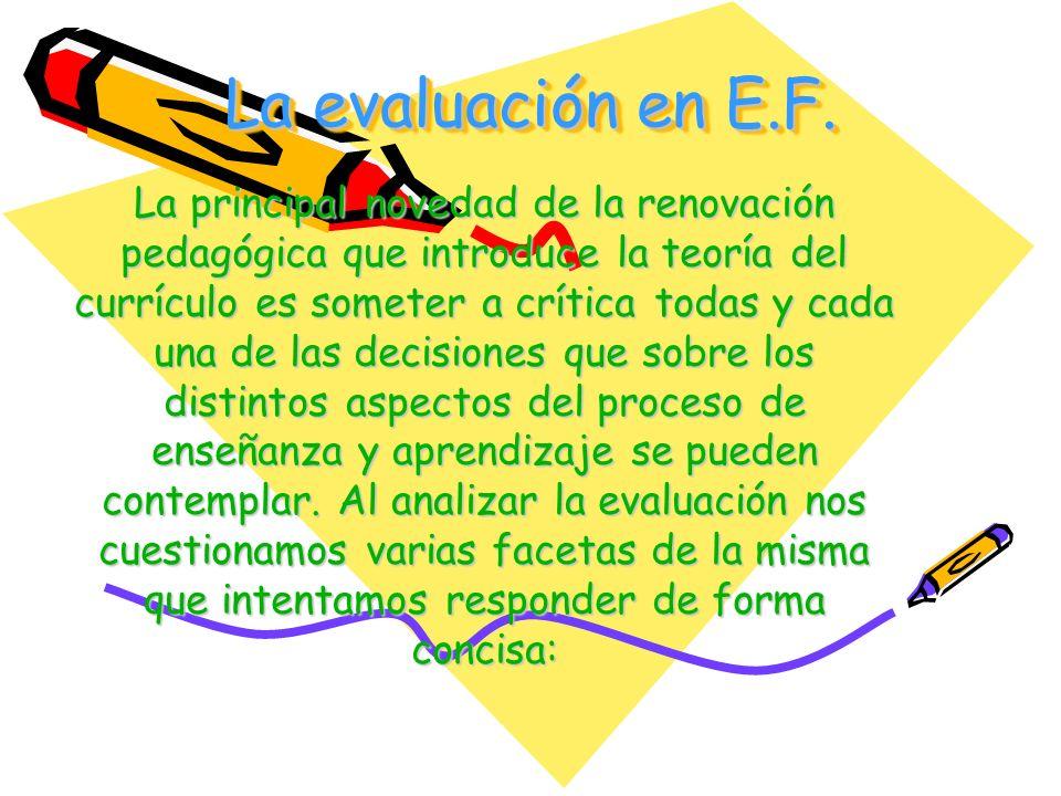 La evaluación en E.F.