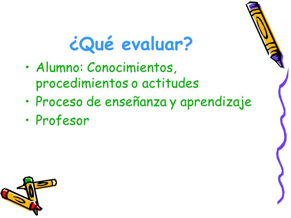 ¿Qué evaluar Alumno: Conocimientos, procedimientos o actitudes