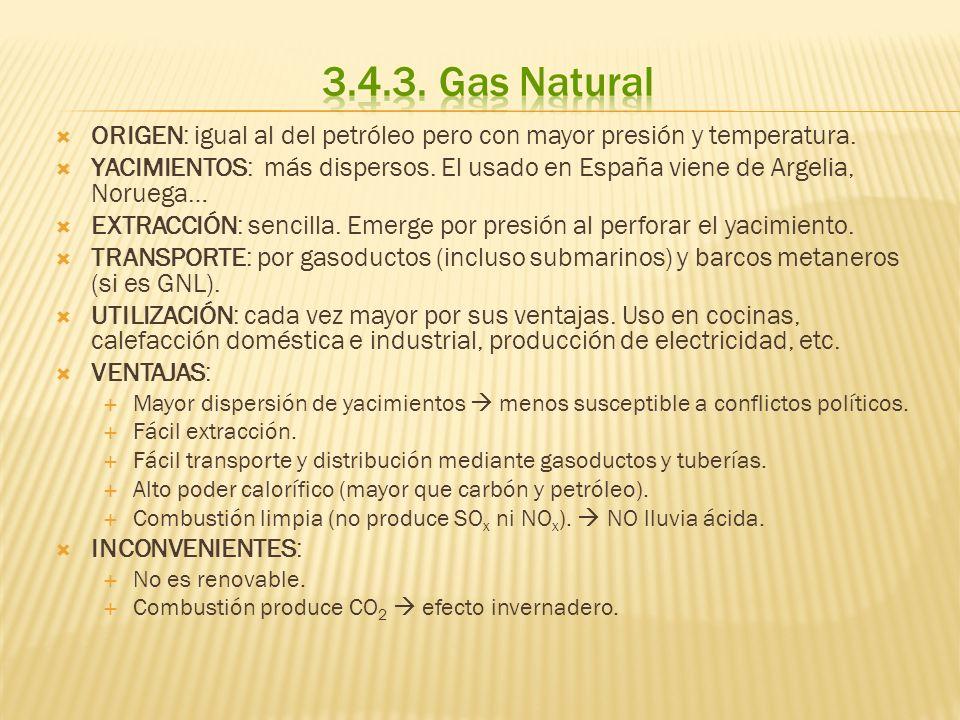 3.4.3. Gas NaturalORIGEN: igual al del petróleo pero con mayor presión y temperatura.