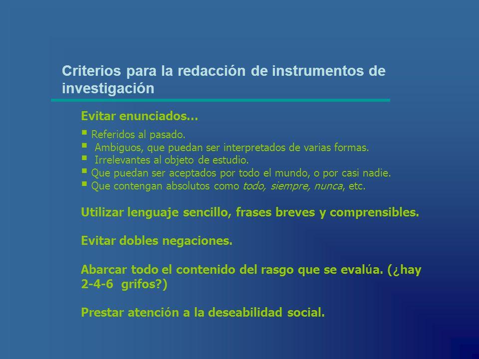 Criterios para la redacción de instrumentos de investigación
