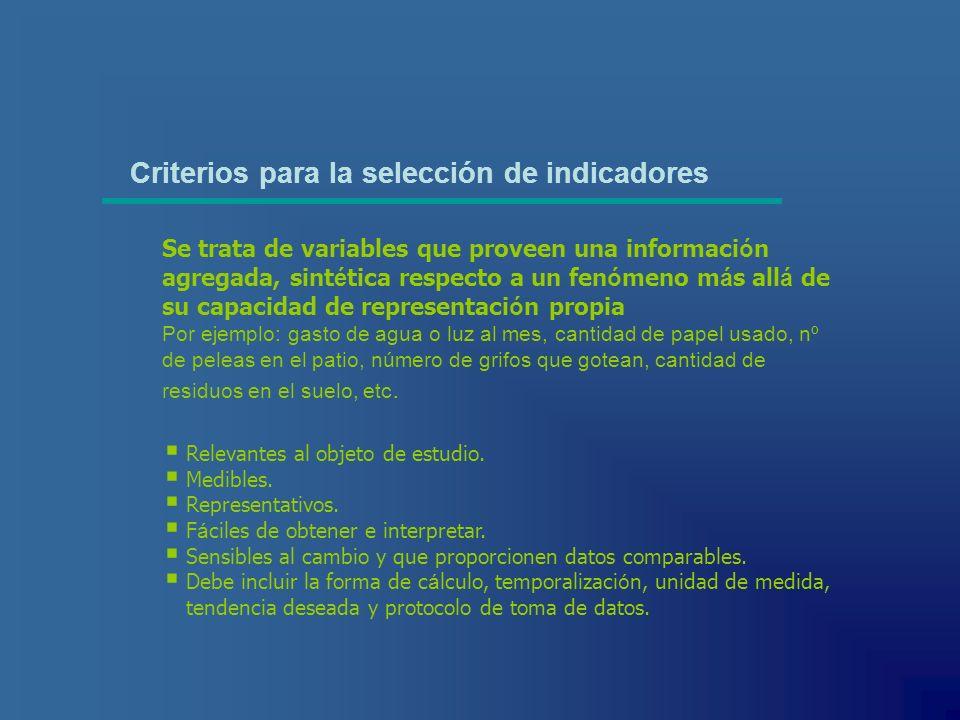 Criterios para la selección de indicadores