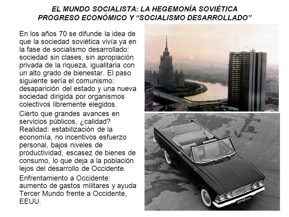 EL MUNDO SOCIALISTA: LA HEGEMONÍA SOVIÉTICA PROGRESO ECONÓMICO Y SOCIALISMO DESARROLLADO