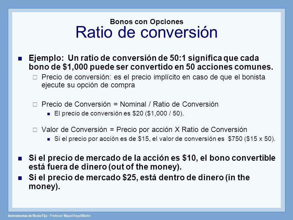 Bonos con Opciones Ratio de conversión