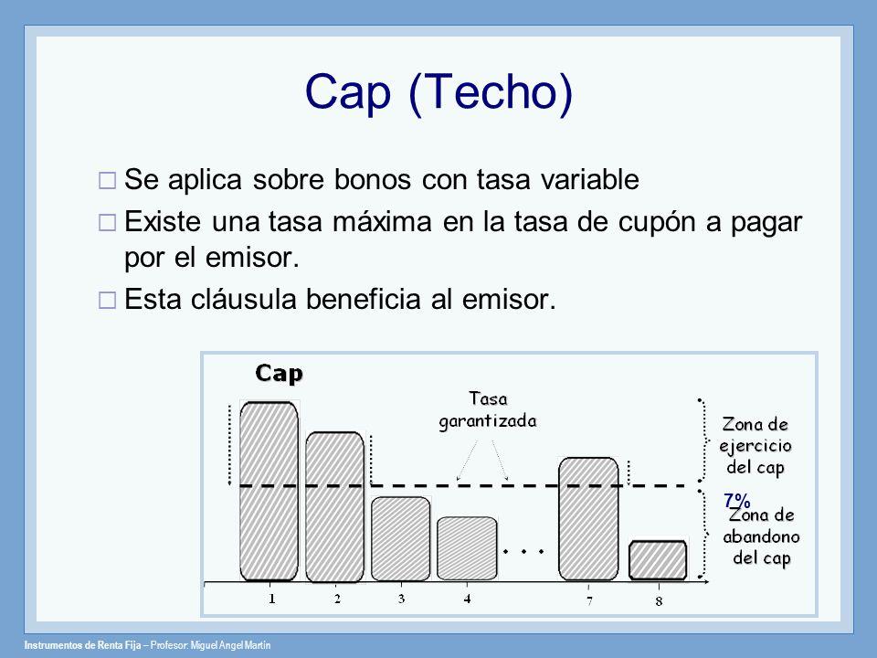 Cap (Techo) Se aplica sobre bonos con tasa variable