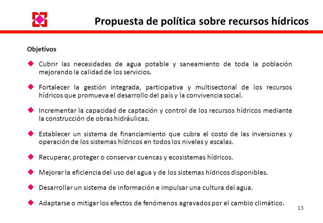 Propuesta de política sobre recursos hídricos
