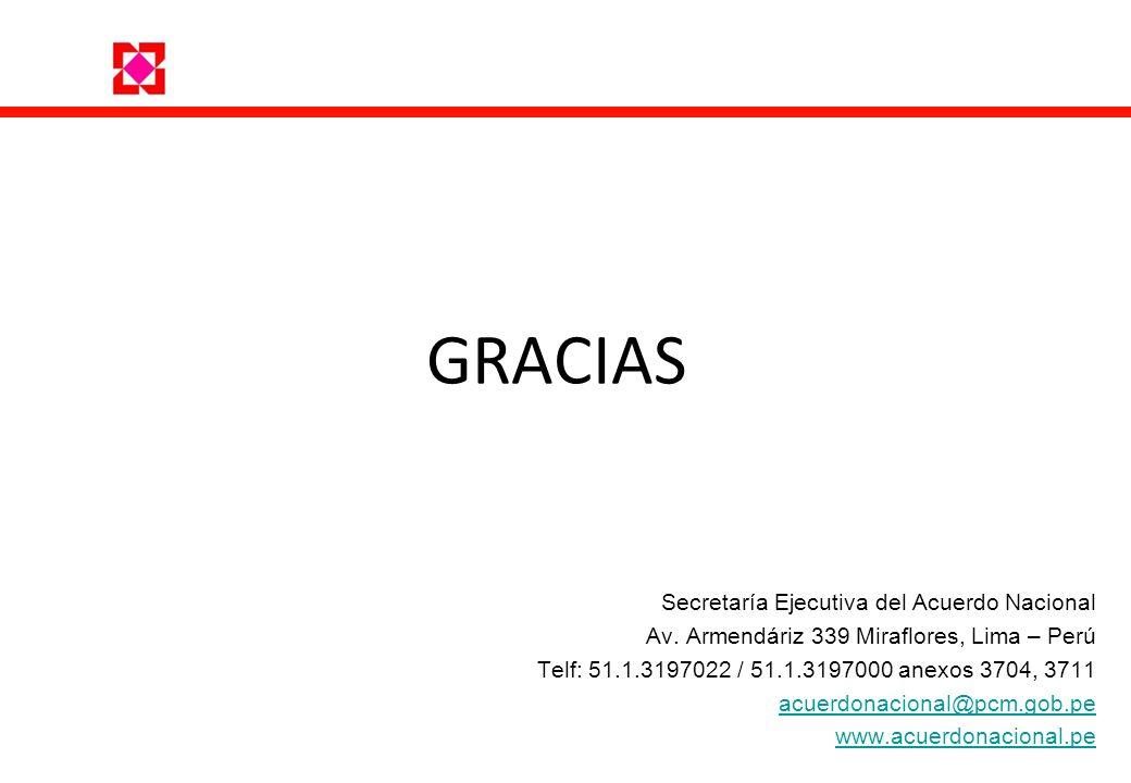 GRACIAS Secretaría Ejecutiva del Acuerdo Nacional