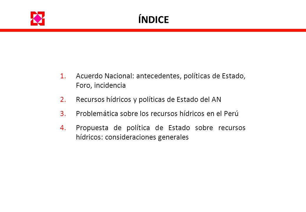 ÍNDICEAcuerdo Nacional: antecedentes, políticas de Estado, Foro, incidencia. Recursos hídricos y políticas de Estado del AN.