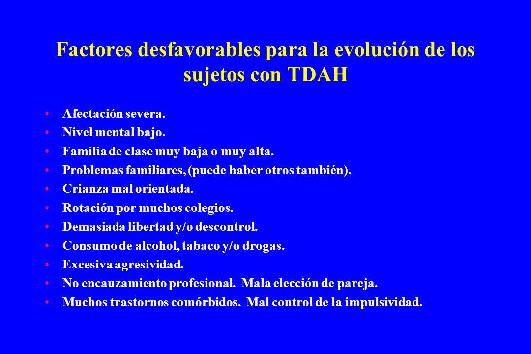 Factores desfavorables para la evolución de los sujetos con TDAH