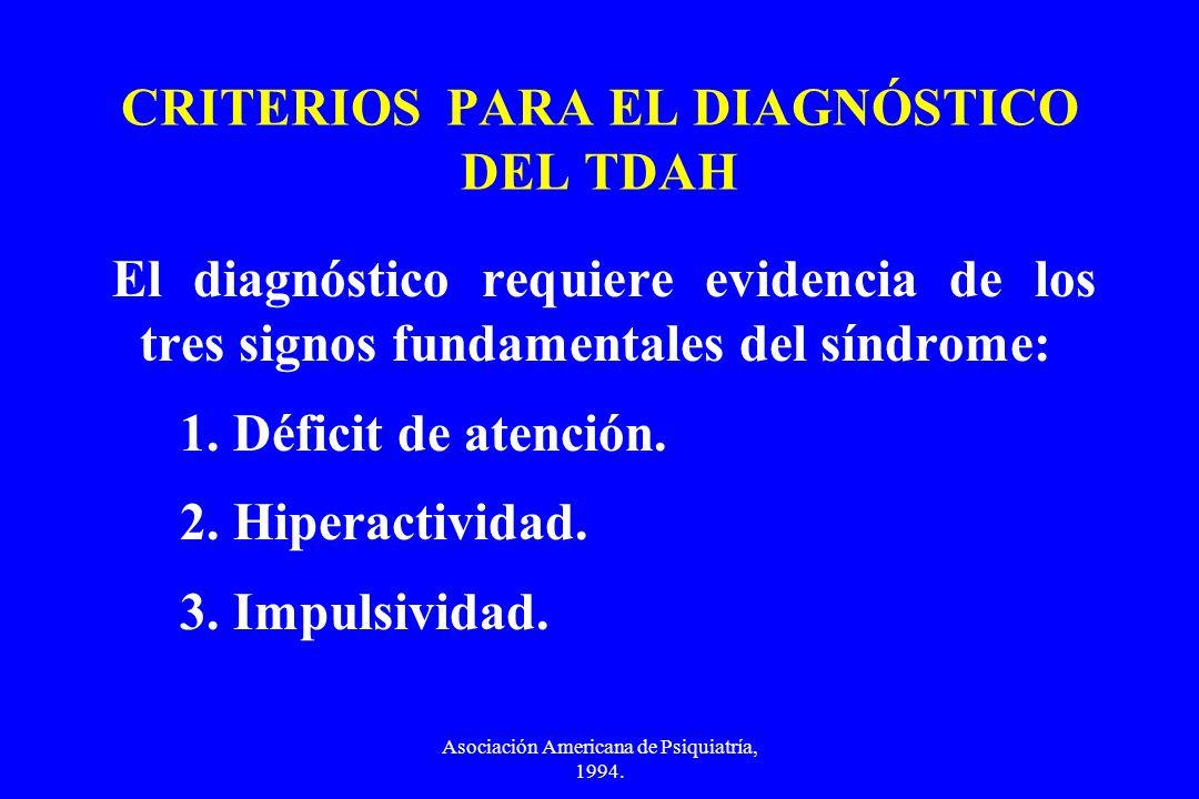 CRITERIOS PARA EL DIAGNÓSTICO DEL TDAH