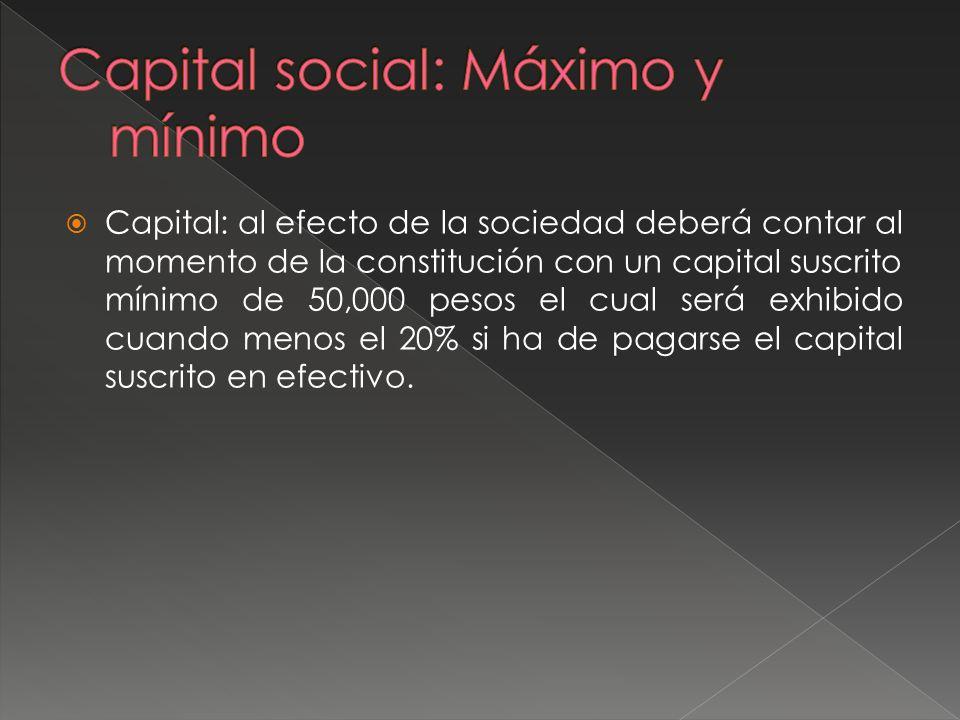 Capital social: Máximo y mínimo