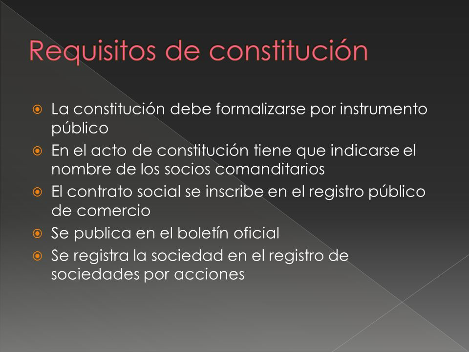 Requisitos de constitución