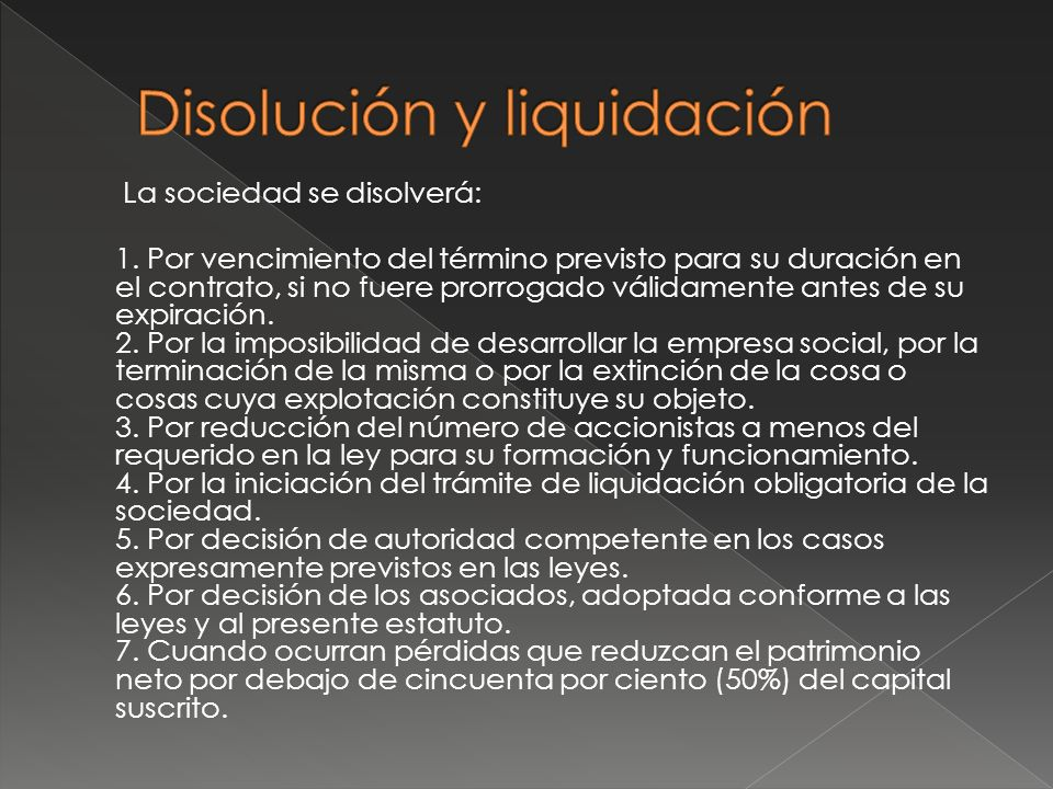 Disolución y liquidación