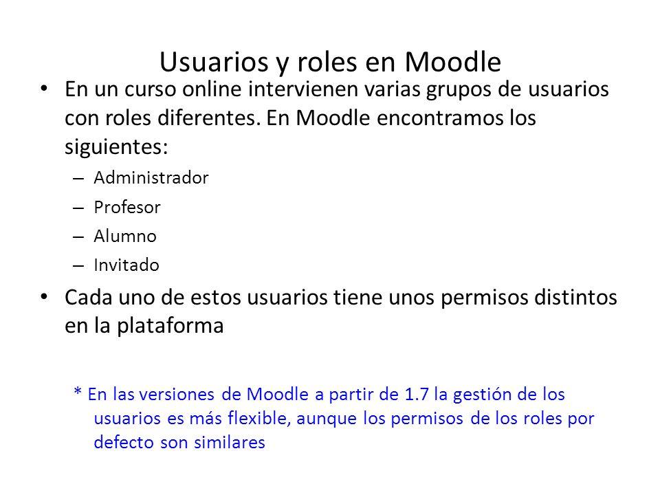 Usuarios y roles en Moodle