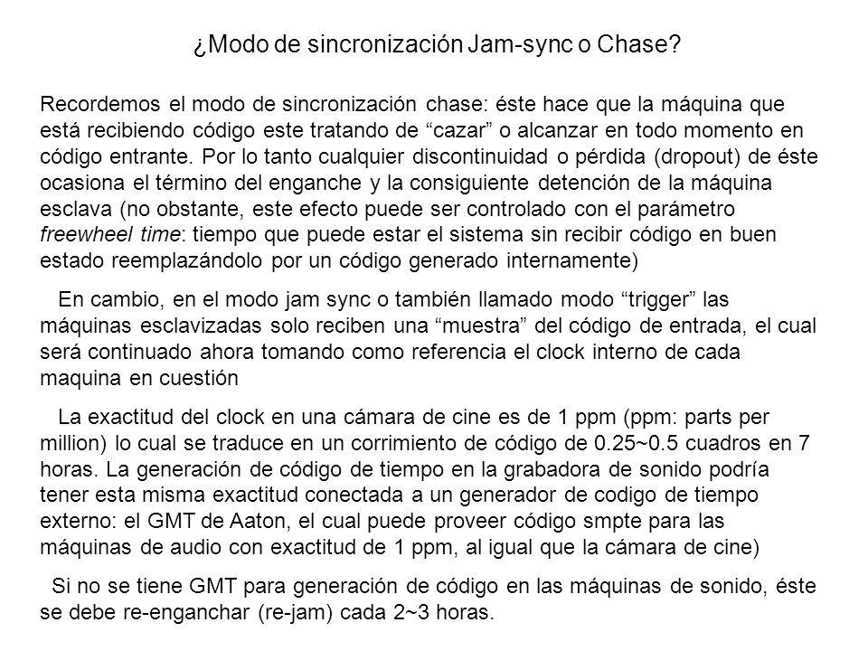 ¿Modo de sincronización Jam-sync o Chase