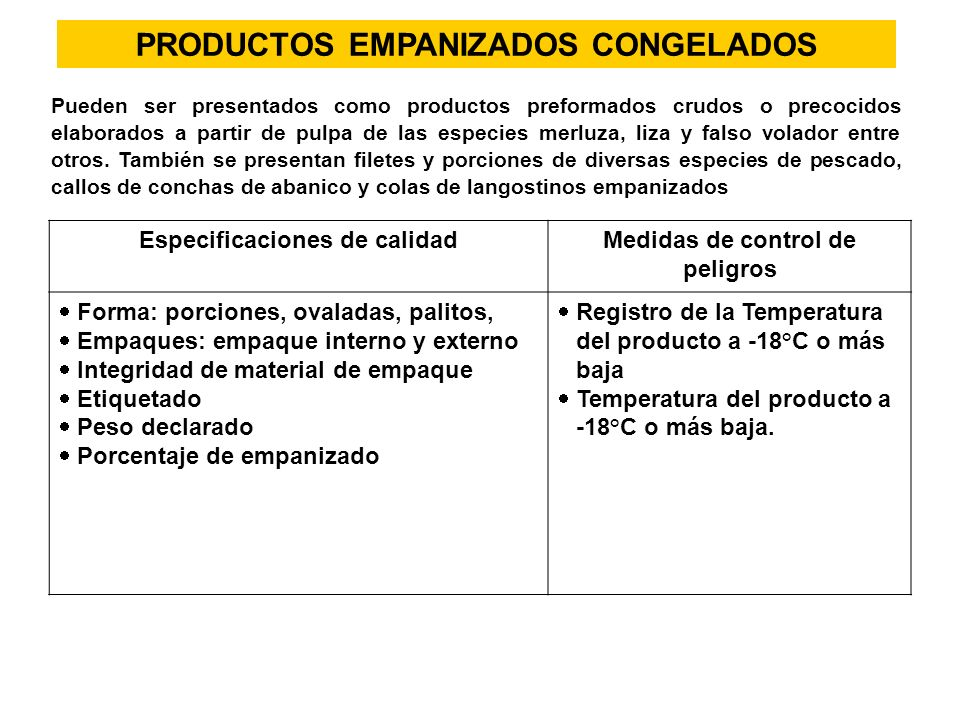 PRODUCTOS EMPANIZADOS CONGELADOS