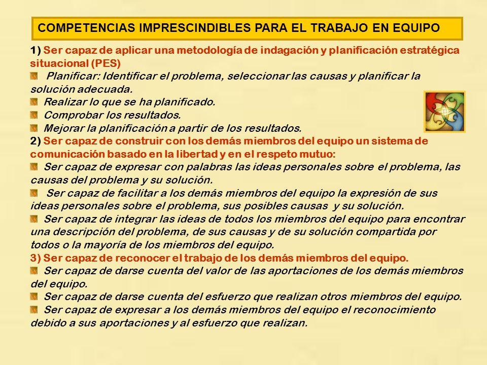 COMPETENCIAS IMPRESCINDIBLES PARA EL TRABAJO EN EQUIPO