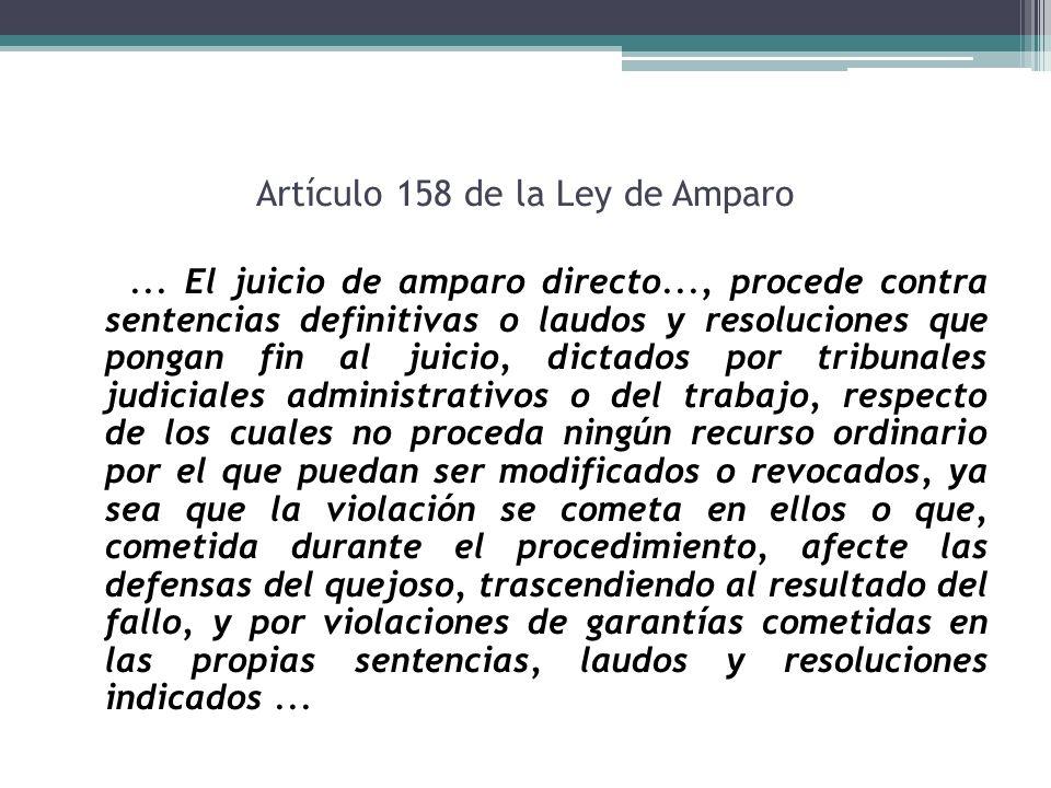 Artículo 158 de la Ley de Amparo