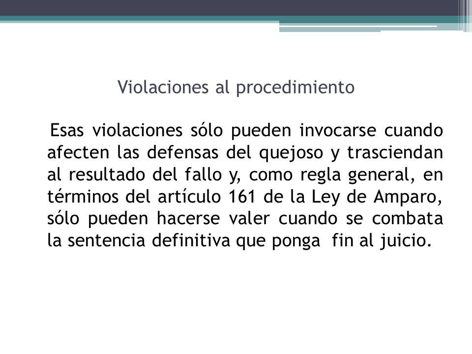 Violaciones al procedimiento