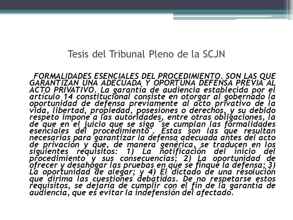 Tesis del Tribunal Pleno de la SCJN