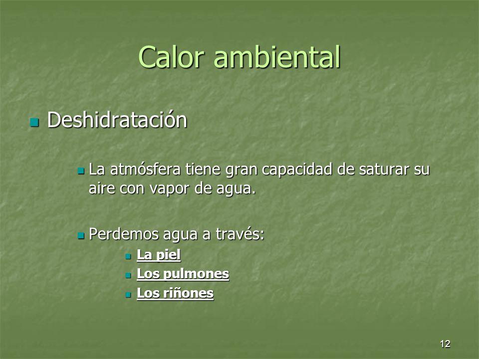Calor ambiental Deshidratación