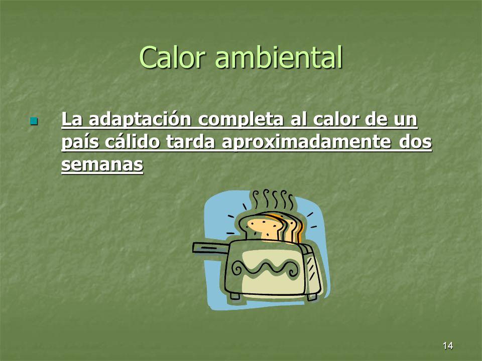 Calor ambiental La adaptación completa al calor de un país cálido tarda aproximadamente dos semanas
