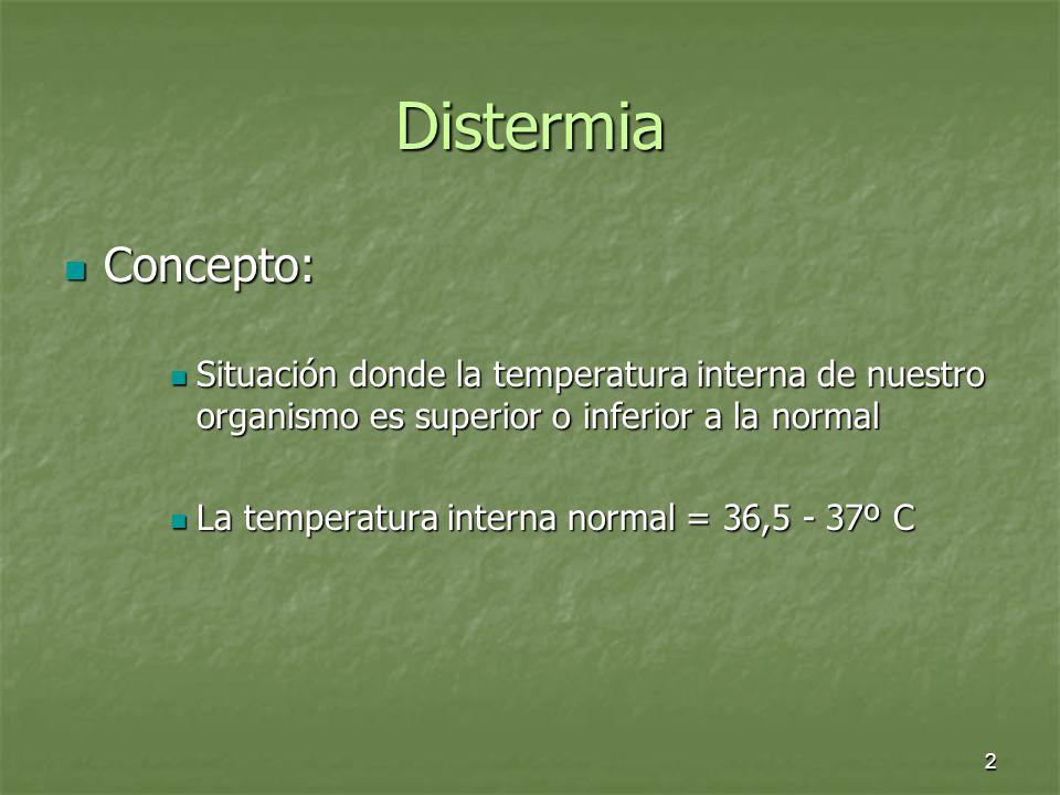 Distermia Concepto: Situación donde la temperatura interna de nuestro organismo es superior o inferior a la normal.