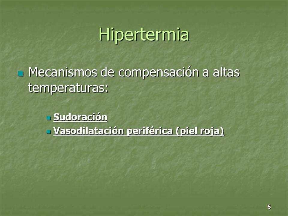 Hipertermia Mecanismos de compensación a altas temperaturas: