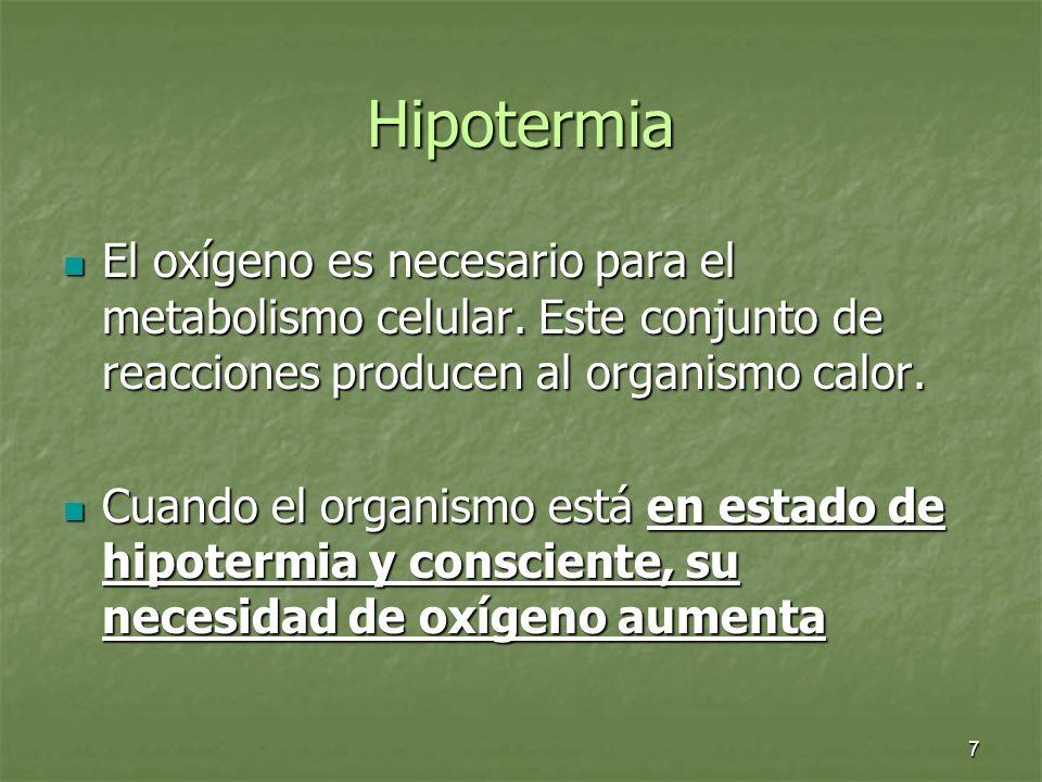 Hipotermia El oxígeno es necesario para el metabolismo celular. Este conjunto de reacciones producen al organismo calor.