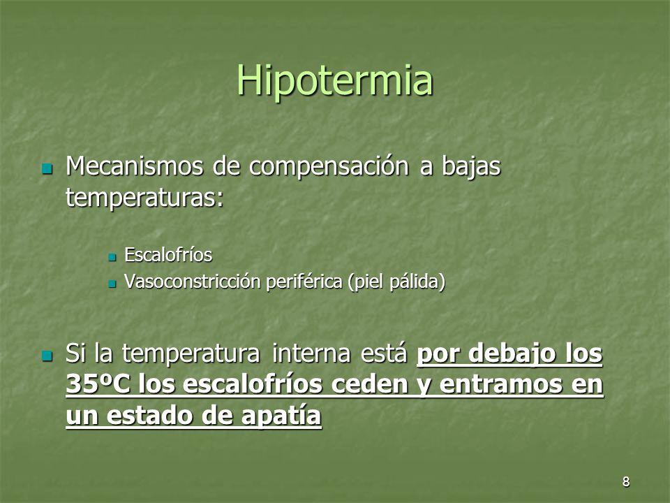 Hipotermia Mecanismos de compensación a bajas temperaturas: