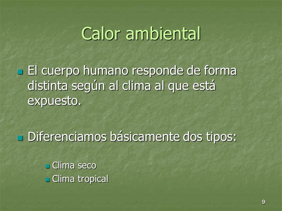 Calor ambiental El cuerpo humano responde de forma distinta según al clima al que está expuesto. Diferenciamos básicamente dos tipos: