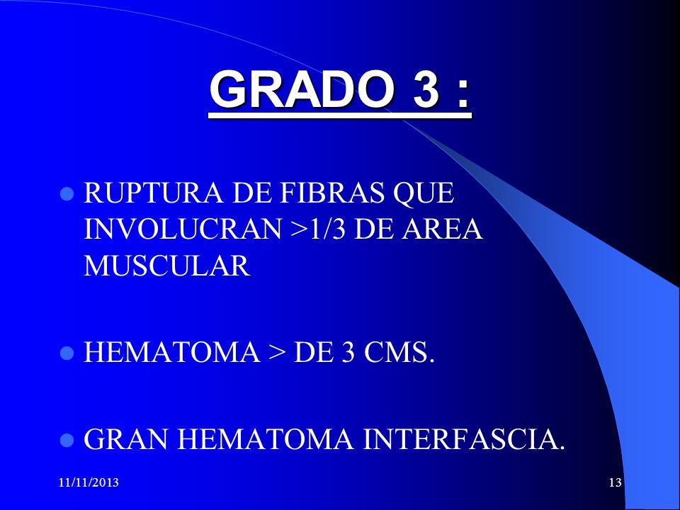 GRADO 3 : RUPTURA DE FIBRAS QUE INVOLUCRAN >1/3 DE AREA MUSCULAR