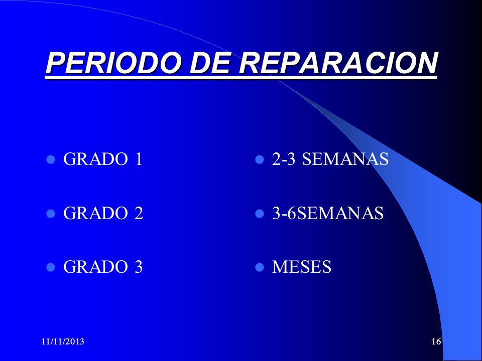 PERIODO DE REPARACION GRADO 1 GRADO 2 GRADO 3 2-3 SEMANAS 3-6SEMANAS