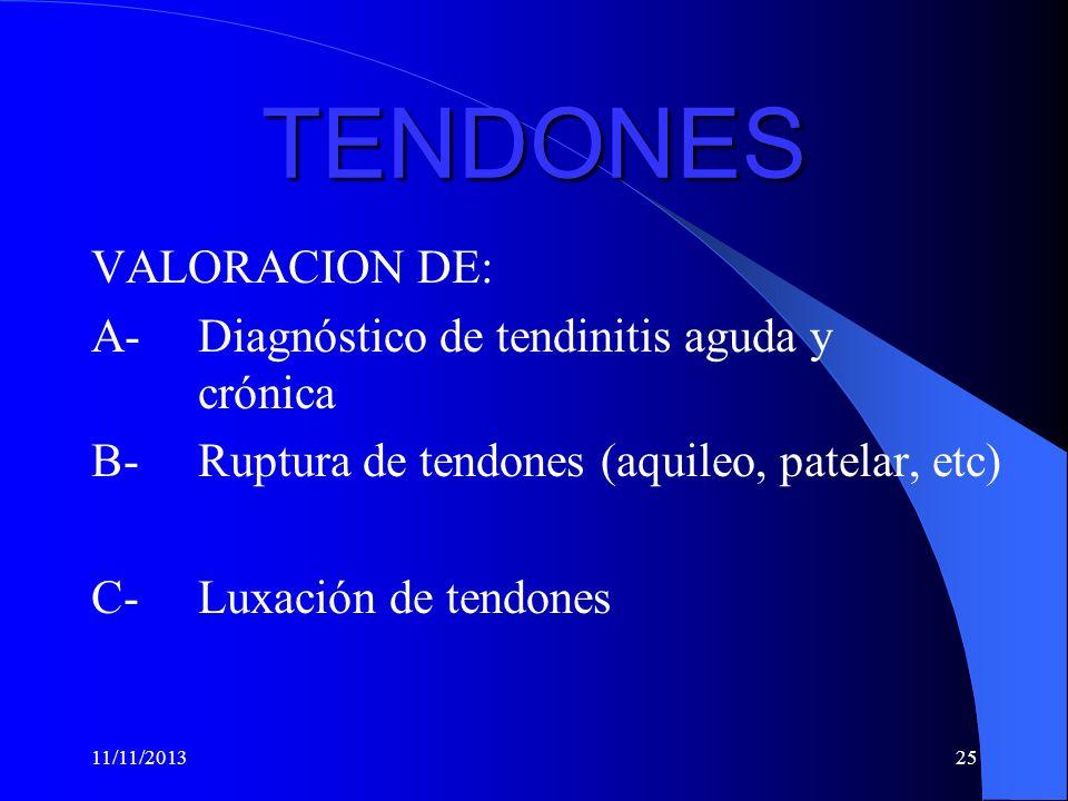 TENDONES VALORACION DE: A- Diagnóstico de tendinitis aguda y crónica