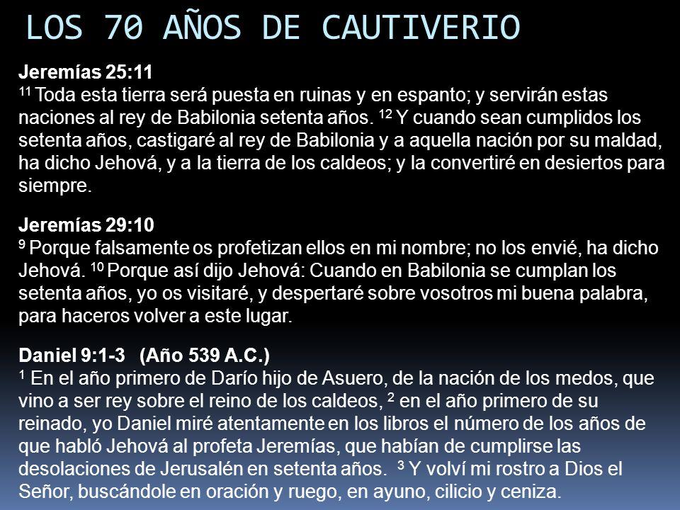 LOS 70 AÑOS DE CAUTIVERIO Jeremías 25:11