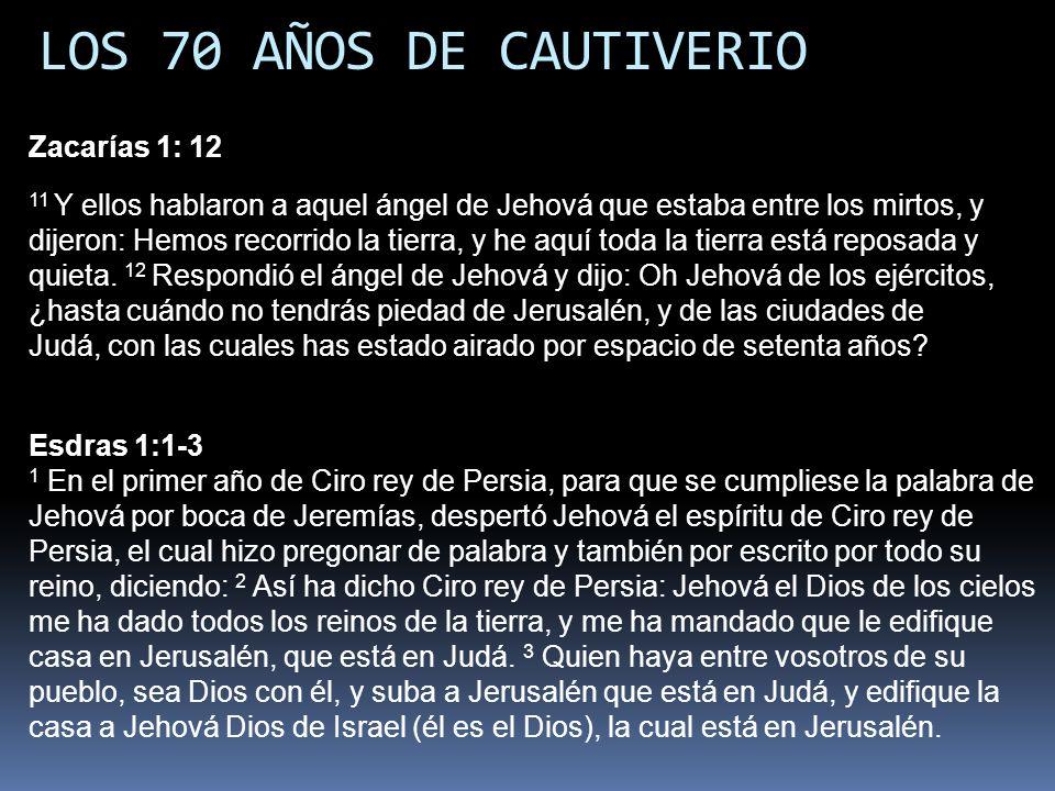 LOS 70 AÑOS DE CAUTIVERIO Zacarías 1: 12