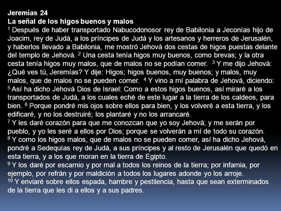 Jeremías 24 La señal de los higos buenos y malos.
