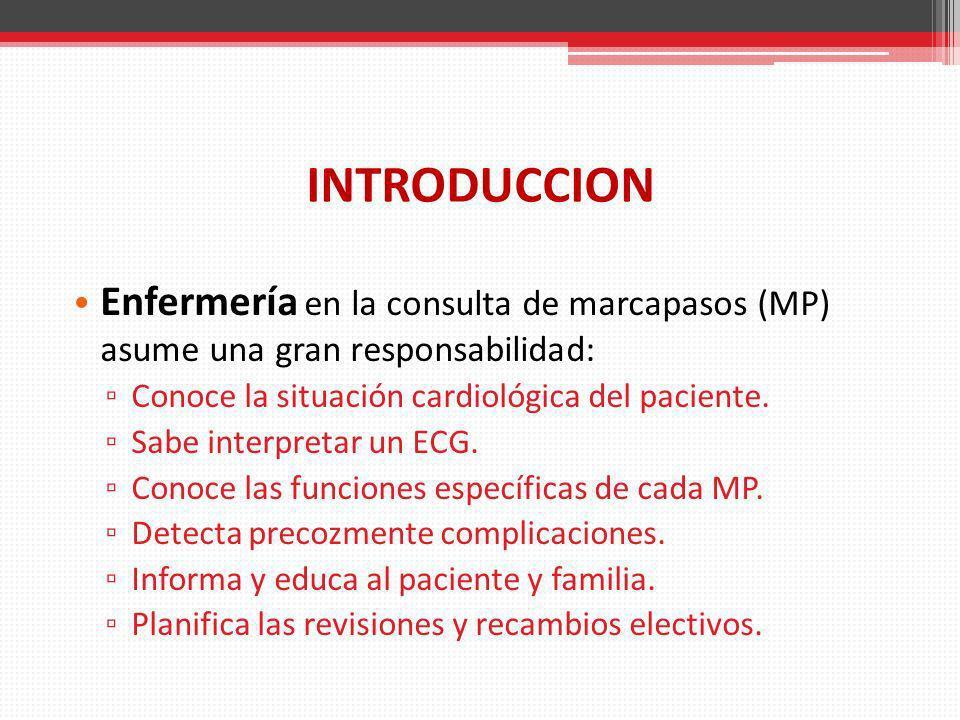 INTRODUCCION Enfermería en la consulta de marcapasos (MP) asume una gran responsabilidad: Conoce la situación cardiológica del paciente.