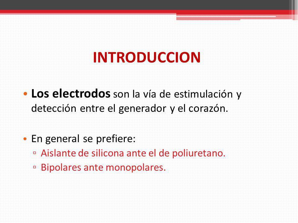 INTRODUCCION Los electrodos son la vía de estimulación y detección entre el generador y el corazón.
