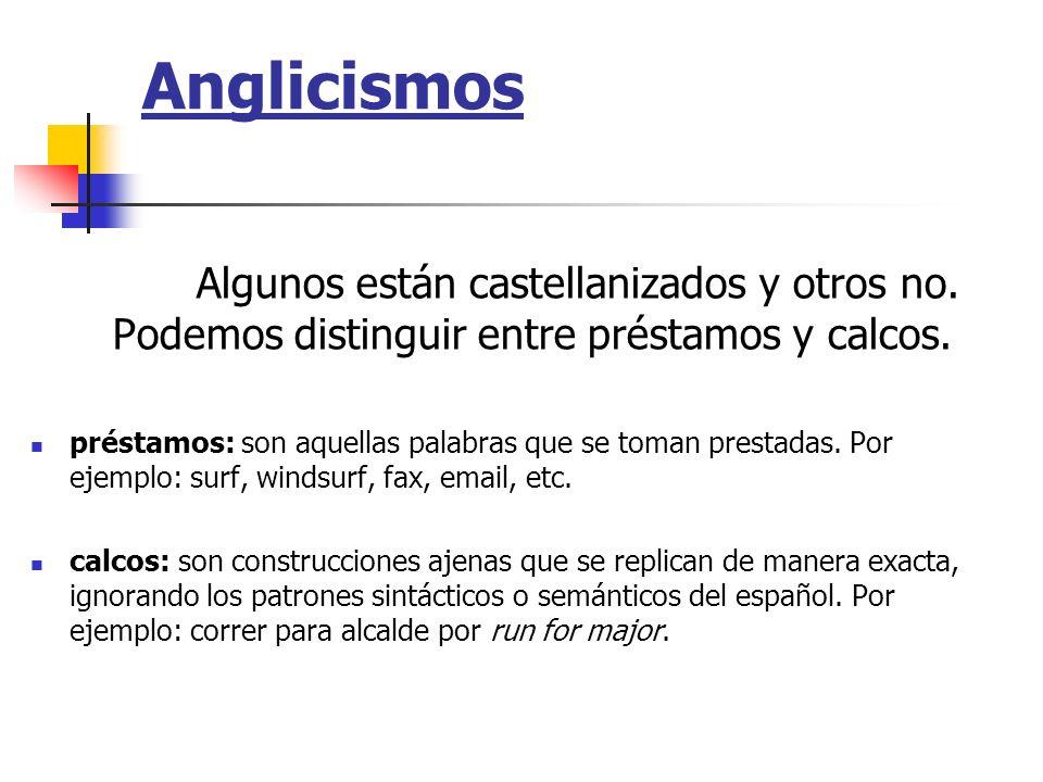 AnglicismosAlgunos están castellanizados y otros no. Podemos distinguir entre préstamos y calcos.
